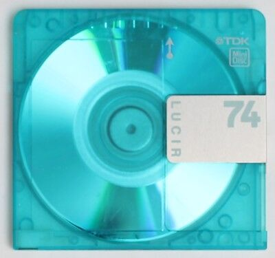 Genuine TDK 'LUCIR' Recordable Translucent Blue MiniDisc 74 Minutes w/ Case