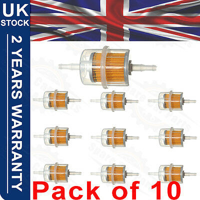 10 x Universal Petrol Inline Fuel Filter Large Car Part Fits 6mm 8mm Pipes