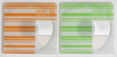 Genuine Maxell 'COULER' Recordable Striped MiniDiscs 80 Minutes (x2) w/ Cases