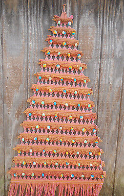 Vintage Pink/Gold String Woven Tapestry Christmas Tree Wall Hanging-Central Am ?