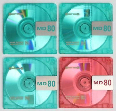 Genuine Sunny Techs 'MD80' Recordable MiniDiscs 80 Minutes (x4) w/ Cases