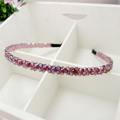 1pcs Fashion Women's Purple Handmade Beads Crystal Headband New Hair Band