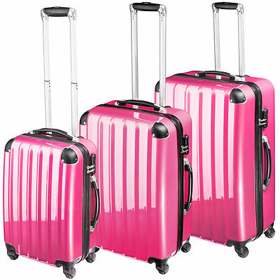 Set of 3 trolley type travel cases with wheels, pink