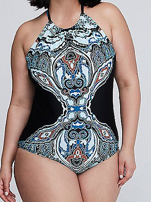 42cb4ac49 High Neck Strappy Back One Piece Swim Suit Built No Wire Bra By Cacique 24