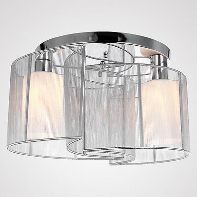 Ceiling Light Modern Design 2Lights Bedroom Chandelier Fabric Shade Flush Mount
