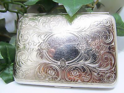 Vintage Stamped Germany German Silver Business Card Case Etched German Silver