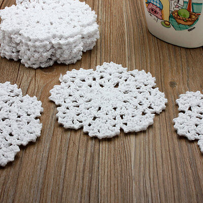 12Pcs New White Round Hand Crochet Small Snowflake Doilies Cup Cotton Appliques