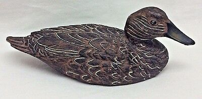 "Resin Or Composition Detailed Brown Wood Like Duck Figurine  6"" X 2.5"""