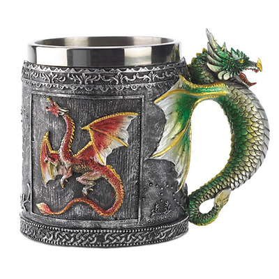 Medieval Dragon Mug Decor Collectible New Beer Home Office Stainless Steel Pewte
