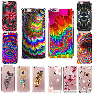 Case Cover Pattern TPU 5c Silicone Skin Soft Back Slim For iPhone 5 SE 6s 7 PLUS