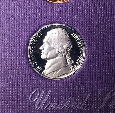 Proof Jefferson Nickel | USA 1988 S 5 cent coin