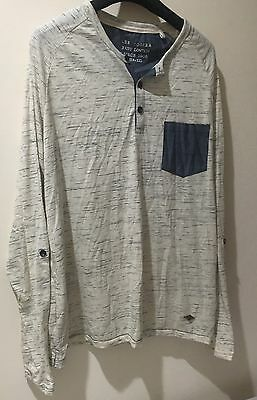 Mens Lee Cooper Size XXL Soft Textured Stretchy Long Sleeve Button Top