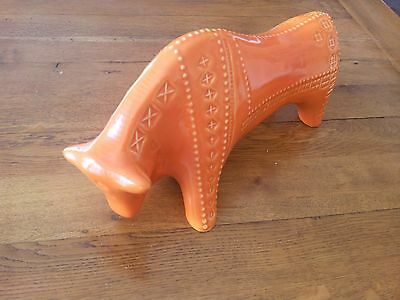 Large Bitossi Style Ceramic Bull, Retro Design, Art Pottery