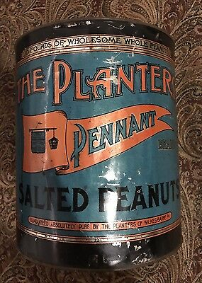 Vintage The Planters Peanuts Pennant Brand 10 Pound Tin Circa 1920s With Lid!