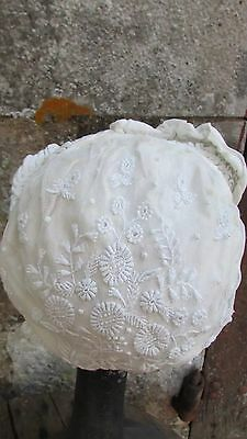 Exquisite Antique French Handmade Needlepoint & Tulle Lace Baby Doll Bonnet 1900