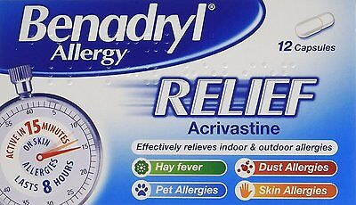 Benadryl 'Effective in 15 Minutes' Allergy Relief, 12 Capsules **FREE DELIVERY**