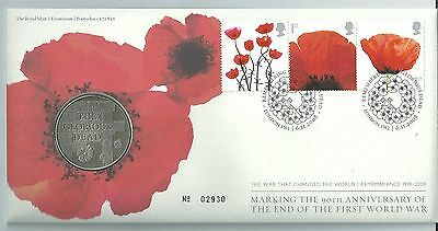 GB 2008 End of WWI 90th Anniv - Coin/Medal Cover - Ltd Ed No. 02930