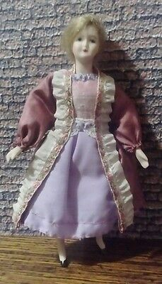 12th scale dolls house woman in party dress and coat