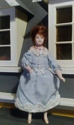 12th scale dolls house woman in pale blue dress