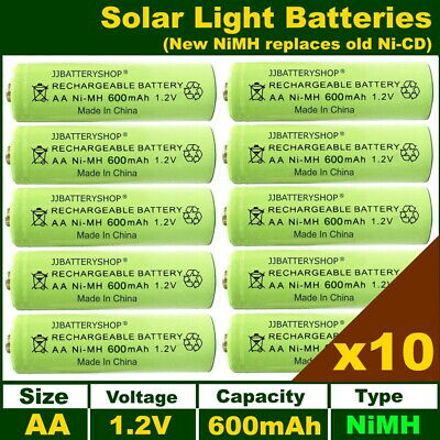 10 x AA 1.2V 600mAh NiMH Rechargeable Solar Light Batteries - New Latest Type
