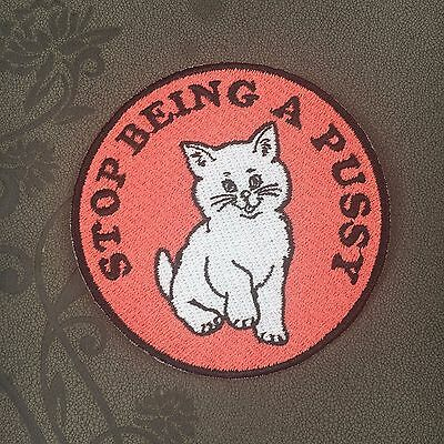 funny cat white patch middle finger patch embroidered patch iron on patch sew on