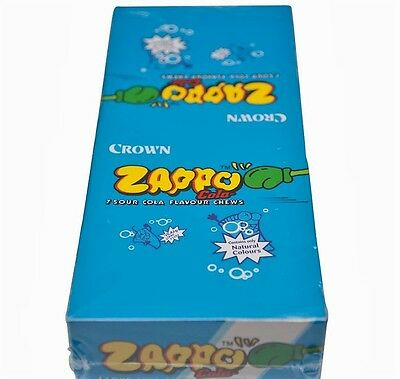 900702 1.9kg BOX OF 60 PACKETS OF ZAPPO, SOUR FLAVOURED CHEWS - COLA FLAVOUR!