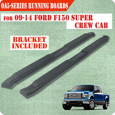 """Fit 09-14 Ford F150 Super Crew Cab 5 """" Running Board Nerf Bar Side Step BLK OA"""