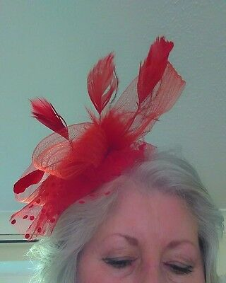 Fascinator Red Clip In Facinator New Ascot Races Wedding red
