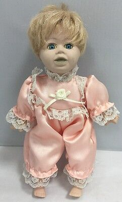 """10"""" DOLL with Porcelain Head, Hands & Feet, Pretty Blue Eyes and Pink Romper"""