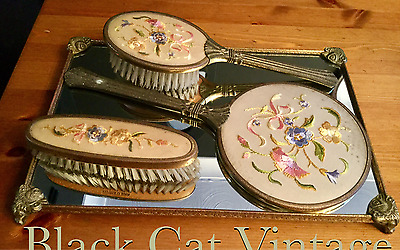 Vintage Retro Embroidered Dressing Table Vanity Set Mirrored Tray Brush Mirror