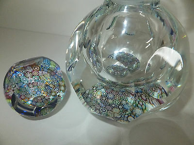 Perthshire Millefiori Paperweight/Inkwell Multi Facet Blue Translucent Ground