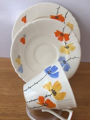 Myott Son & Co. Hand Painted Trio Cup, Saucer And Tea Plate 1076