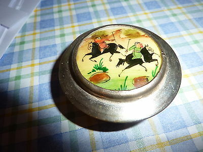 Antique Silver metal Trinket/ Pill/ Snuff box with enamel picture lid .... No 2