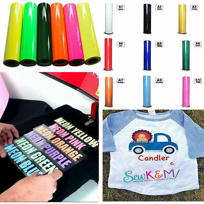 T-Shirt Heat Transfer PU Vinyl Film For Garment Textile Graphics Fluro Colours