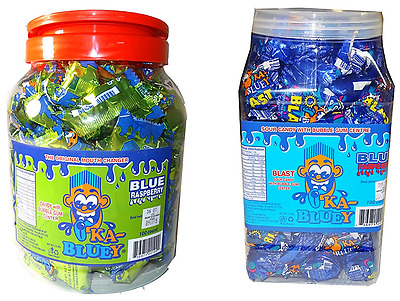 2 x 1.3kg TUBS OF KA-BLUEYS VARIETY OF CANDY WITH A BUBBLEGUM CENTER, SOUR!
