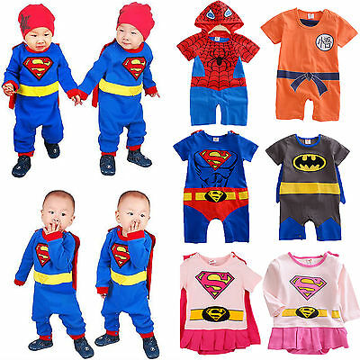 Newborn Infant Boy Girls Baby Superhero Romper Outfits Party Fancy Dress Costume