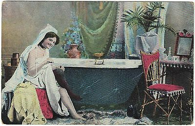 1903 German or French Postcard Woman preparing for a Bath Glamour Risque Erotic