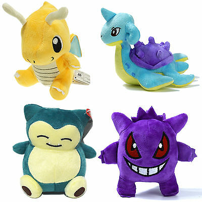 Pokemon Dragonite Gengar Lapras Snorlax Soft Plush Stuffed Doll Kids Teddy Toys