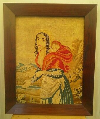 Old Antique  hand woven wallhanging tapestry, humble woman carrying baby ~Framed