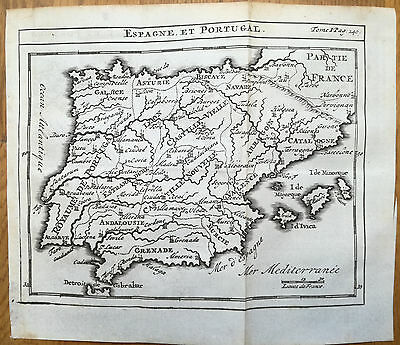 Sanson Original Engraved Map Spain and Portugal  - 1730