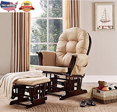 Wide Glider Rocker with Ottoman Nursing Baby Relax chair quality time Cushion