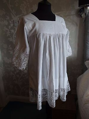antique vintage ecclesiastical church Cotta smock robe with lace