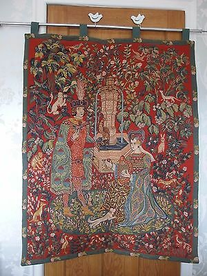 Hand Loomed French tapestry signed  by  Anne Aknin  Romance of the Rose