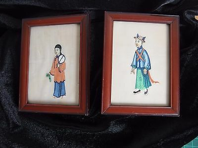 antique Pair of Chinese painting on rice paper framed