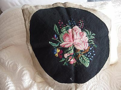 vintage antique Hand Stitched worked tapestry cushion front picture