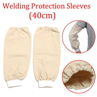 1 Pair 40cm Flame Retardant Welding Arm Leather Sleeves Protection Elastic Wrist