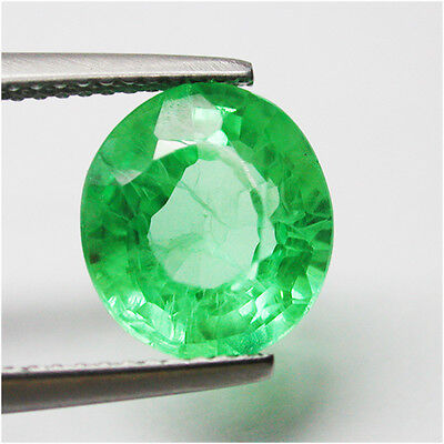 Fine!4.85ct Stunning Diffusion Colombian Green Emerald Chathum Antique Oval Lab