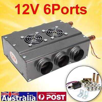 12V 6 Ports Car  Underdash Compact Heater Double Side Heat w/ Speed Switch Clamp
