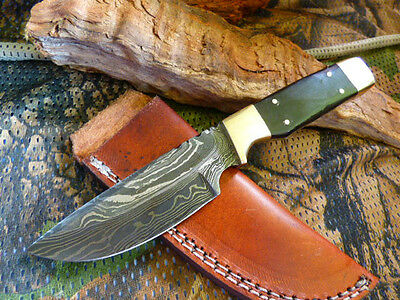 Top Black Horn Damascus Steel Fixed Blade Knife Filework 20Cm Brass Tool Hunting
