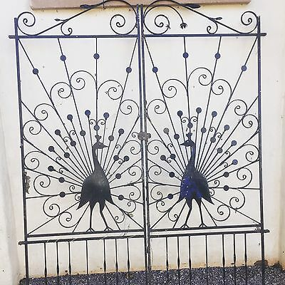 Antique Wrought Iron Gates featuring peacocks